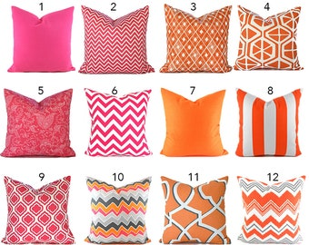 Pillow Covers ANY SIZE You Choose Decorative Pillow Cover Hot Pink Pillow Orange Pillows Ikat Pillow Chevron Pillow