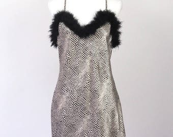 Vintage 1980's Cruella Bound Faux Fur Boa Slip Dress