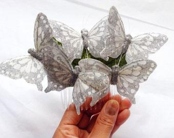 Silver feather butterfly hair comb, Butterfly hairpiece, Monarch Glen butterfly hair accessory, butterfly headpiece, wedding head piece