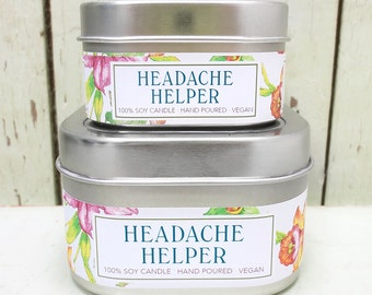 Headache Helper Soy Candle 4 oz. - Green Daffodil- Handpoured - Anne and Siouxsan - C4