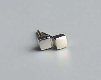 Square Stud Earrings Sterling Silver Small Square Post Earrings Silver Studs