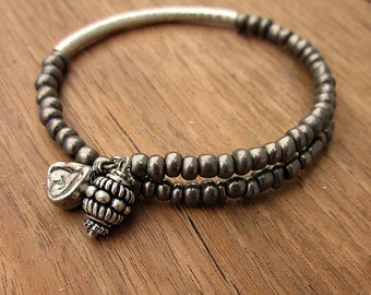 Beaded Dark Silver Adjustable Memory Wire Bangle Bracelet: Dove WAS 14.00