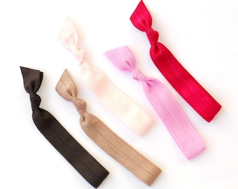 Orchid - 5 Comfort Elastic Hair Ties / Bands / Bracelets