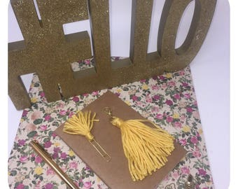 Yellow Tassel Charm and a Small Tassel Gold Paper Clip Planner Set