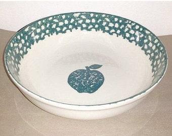 Vintage Green Spongeware Serving Bowl,Folk Art Spongeware, Apple,Green Stoneware Bowl,Speckleware,Speckled Vegetable Bowl,Folkcraft,Tienshan