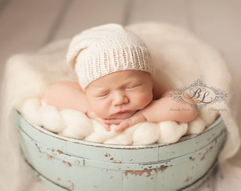 Newborn Slouchy Hat - Off White - Alpaca Knit Slouchy Hat - Slouchy Cap - Photography Prop