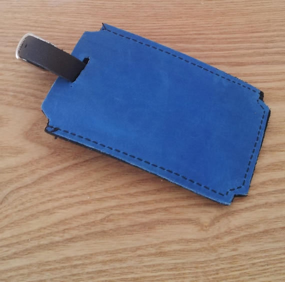 Leather Luggage tag for travel in blue and black leather - personalize