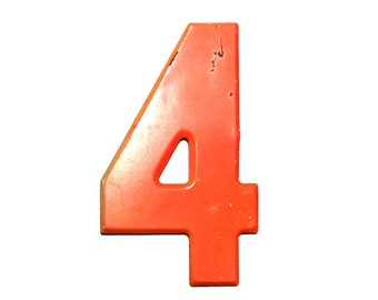 """7 1/2"""" Vintage Metal Number 4 Red/Orange - Marquee Signage Sign - Wedding Birthday Numbers Kid's Party Decor Sports House Address Outdoor"""