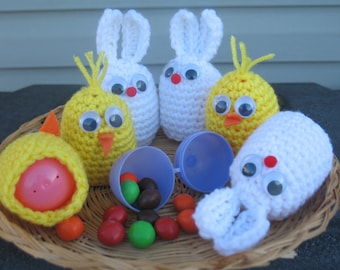 Set Of 5 Crochet Egg Cozy/ Easter Decoration/ Chick Egg Cozy/ Bunny Egg cozy/ Egg Holder.