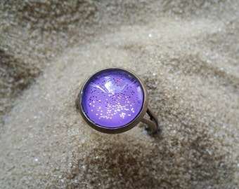 Purple Nail Polish Ring, Handpainted Glass Ring, Gifts for Teens, Glitter Ring, Holiday Gift Idea, Adjustable Ring, Glass Dome Ring