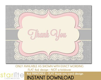 Printable Pink Gray Baby Shower Thank You Card | Vintage Lace Burlap | 4x6 Flat Printable Thank You Card | Bridal Shower Birthday | Instant