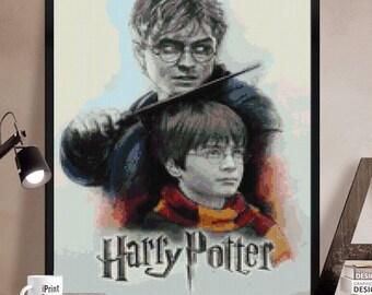 Harry Potter Cross stitch pattern modern.  Harry Potter cross stitch DPF pattern .Patrón Harry Potter punto de cruz moderno  PDF (#8)