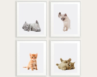 set of 4 cat prints, nursery wall art, kitties printable art, kitty poster, kittens print, little kitties wall decor,kitten instant download