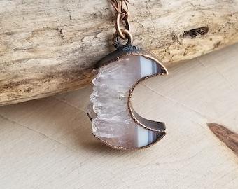 Copper Electroformed Mini Agate Druzy Moon Goddess Crystal Necklace | Copper Electroform Raw Crystal Necklace | Crescent Moon Necklace