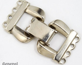 34mm Silver Tone Fold-Over Clasp Set #CLB082