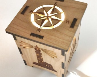 Nautical Wooden Table/Accent Lamp - Lighthouse Sailboat - Compass