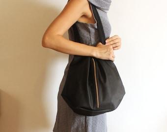 ROME tote, Black vegan tote bag - Black tote bag with zipper / Everyday Bag - Black shoulder bag /Zipper bag / vegan bag - black tote bag