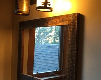 Rustic barn wood framed mirror reclaimed barn wood mirror custom sizes made from 1800s barn  wood rustic-home decor