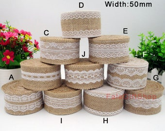 1yd burlap lace ribbon,wedding deco trimming thick 50mm
