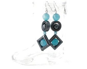 Sale Cateye Turquoise & Hematite Dangle Earrings
