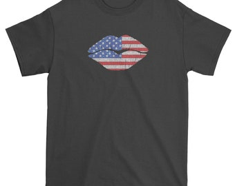 Patriotic Lips with USA Flag Mens T-shirt