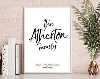 Family Print, House Warming, New Home Print
