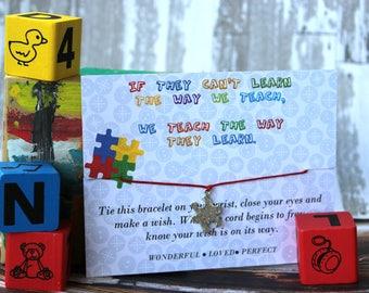 Autism Awareness Wish Bracelet, Wish Upon Your Wrist, Puzzle Piece Jewelry, Autism Awareness Bracelet, Autism Awareness Jewelry, Autism