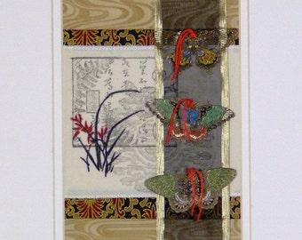 Mini Quilt Art Collage papillon haïku Style asiatique mixte prêt à encadrer