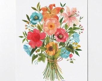 Bouquet - 8x10 art print