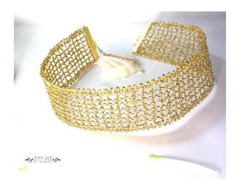 Wedding, Mesh Lace Choker, Gold Mesh Choker, Choker Necklace, Lace Necklace, Gold Lace Choker, Glitter Choker, Sparkle Choker, Gold Choker
