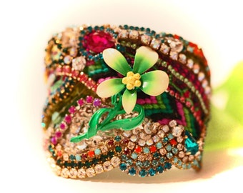 Vintage Flower Friendship Rhinestone Cuff Yours will have a different Vintage flower just as Beautiful