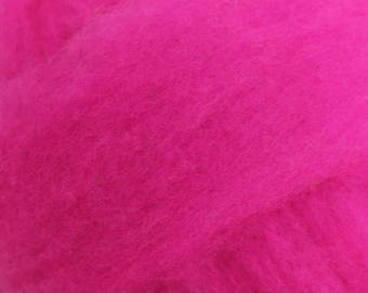 Polypay Wool Roving for Spinning -- Fuchsia
