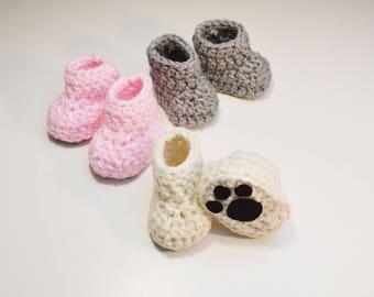 Baby Boy/Girl Teddy Bear Booties, Newborn Baby Boy or Girl Polar bear booties, Soft pink baby girl bear booties, Gray Koala baby booties