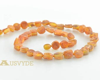 Baltic amber necklace, Raw amber beads, Raw amber necklace, Honey color, ~52 cm, HG250
