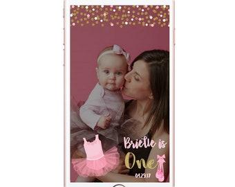 Ballerina Geofilter Pink Tutu Ballet Slippers Glitter Gold Snapchat