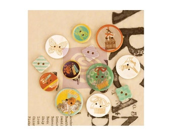Clearance, Prima Marketing Lady Bird Wood Buttons 12/Pkg - 564971