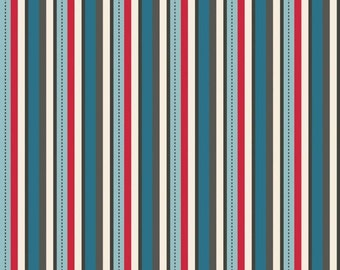 Pirate Mateys Blue and Red Stripe Fabric from Riley Blake Fabrics