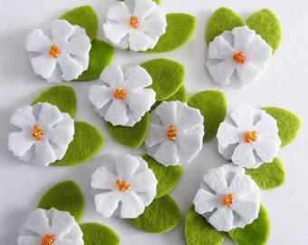 Felt applique, Felt Flower applique, Felt Flower Embellishment, Craft Supplies, 10 pieces