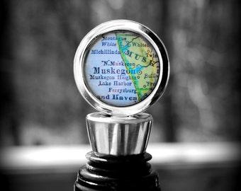 Muskegon Map Wine Bottle Stopper