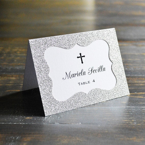 Silver Glitter Place Cards - Escort Card - Custom Placecard for Communion, Baptism, Christening - Silver Glitter Frame