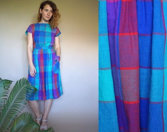 80's vintage women's colorful checked open back dress