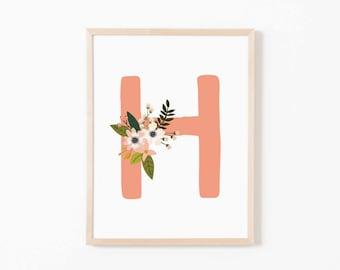 Coral Bloom H Nursery Art. Nursery Wall Art. Nursery Prints. Nursery Decor. Girl Wall Art. Personalized Wall Art. Monogram Art. Floral Art.