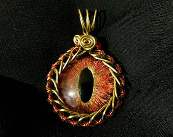 Hand-Painted Eye of Sauron Pendant w/Gold and Red Wire Wrap (with Necklace)