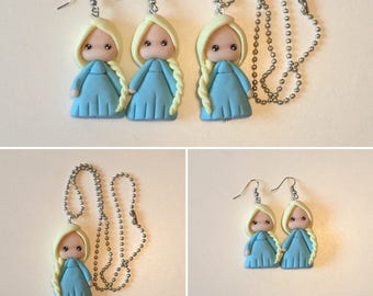 Necklace and Earring set in polymer clay frozen inspired earrings