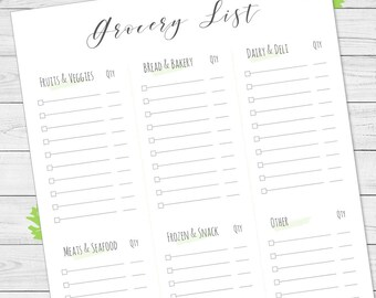 Grocery list, main groups at grocery store shopping list, printable, green.