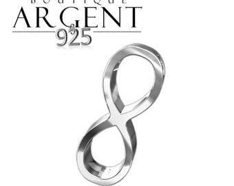 Infinity spacer connector 15.7 X 6.2 mm 925 sterling silver 3D charm