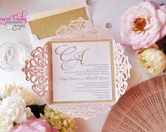 Deposit - Custom Square Laser Invitation for Wedding, Mitzvah or Party - shown in Blush Pink Shimmer and Gold Glitter - or in your colors
