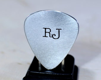 Personalized Guitar Pick Hand Stamped with Large Initials in Aluminum - GP924