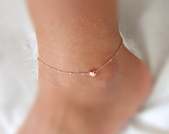 Rosegold Heart charm Anklet, Rose Gold satellite chain, Dainty jewelry, Wedding jewelry, Bridesmaid Anklets, Gift for her