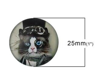 """Steampunk cat"" glass cabochon 25 mm"